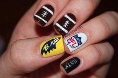 kelsi nail, finger superbowl, fingers, nailart footballnail, baltimore