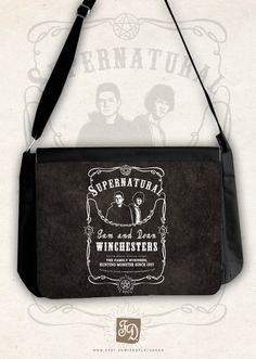 "Winchesters brothers SUPERNATURAL big messenger bag / Dean and Sam Winchester /"" Saving people, hunting things. The family bussines "". $49.00, via Etsy."