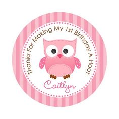 "Pink Owl 2"" PRINTABLE Party Circles PERSONALIZED for 1st Birthday/Baby Shower Girls - Cupcake Topper / Favor Tags / Thank You Tag"