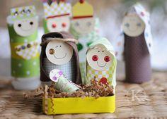 Recycled Nativity Set:   Manger=Altoid Tin,  Baby Jesus=Spool,  Mary & Joseph=Medicine Bottles,  Shepherds & Wise Men=Spice Bottles