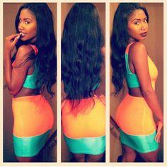 color combos, black hair, colors, dresses, the dress