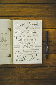 journal, christians, faith, doodles, calligraphy, art, quot, psalm 23, design