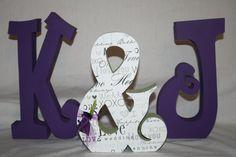 Purple+wedding+decoration+set+of+three+by+WoodenWondersShop,+$44.95