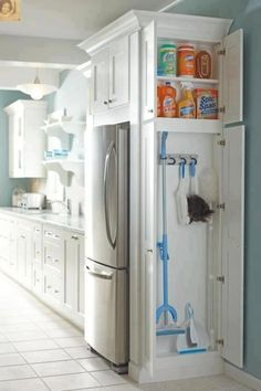 Clever use of space... storage spaces, kitchen storage, smart storage, extra storage, laundry rooms, cleaning closet, cleaning supplies, storage ideas, kitchen cleaning