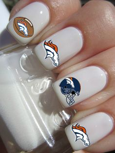 Denver Broncos Nail Decals by PineGalaxy on Etsy, $4.50
