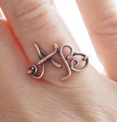 Double Initial Ring. Copper. Custom. Letter. Oxidized.  Wire Jewelry