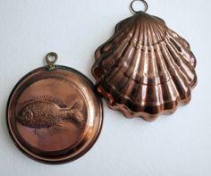 vintag copper, jello mold, copper mold, copper fish