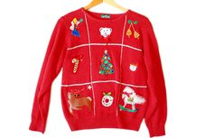 Vintage 90s Sparkly Reindeer Butt Tacky Ugly Christmas Sweater Women's Size Medium (M) $30
