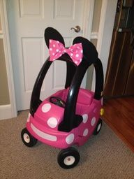Minnie Mouse cozy coupe - using a recycled red/yellow coupe.