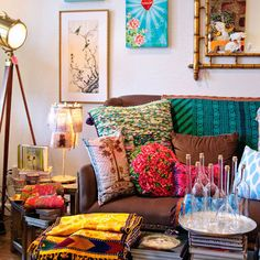 boho chic, pillow, living rooms, living spaces, colors, bohemian living, brown couch, color patterns, couches