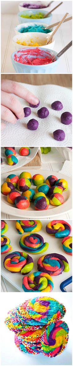 Rainbow Pinwheel Cookies start with sugar cookie mix!