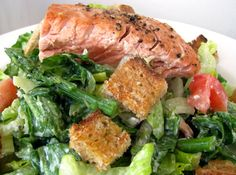 Salmon Caesar Salad   Clean & Delicious with Dani Spies (leave out fennel, serve w/sourdough toasts on side, no croutons)