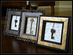 Easy DIY Framed Key made with jewelry pieces or old keys (easy)