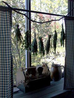 Curtain Rod Herb drying