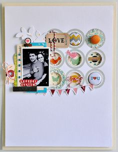 Love #scrapbook #punch #button #layout #bunting #layers