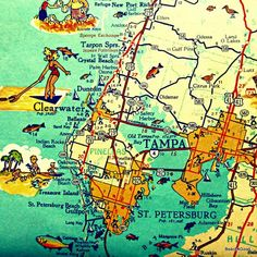 Tampa Florida map print Clearwater