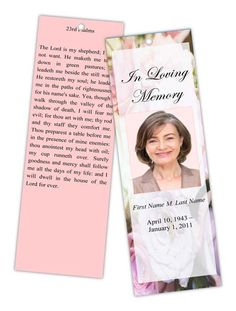 free memorial bookmark templates