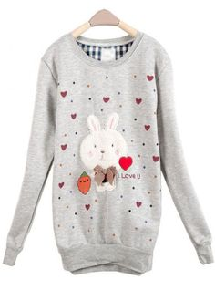 Gray Rabbit Round Neck Long-sleeved Sweatshirt$36.00