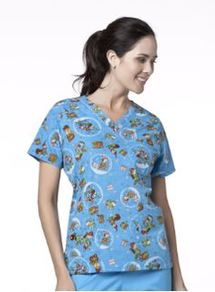 A beautiful Christmas print nursing scrub top by Mary Engelbreit called My Little Helpers.    $22.99