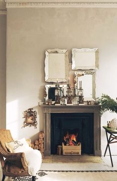 Mirrors over fireplace
