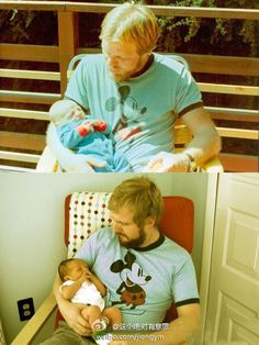 """First Photo: A 29-year-old father holding son two weeks; Photo: son, at age 29, wearing his father wore old t-shirt, holding their own two weeks old baby. """"U-turn"""""""
