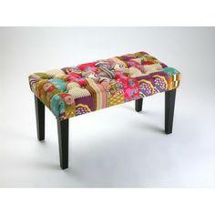Banqueta taburete pie de cama floral patchwork