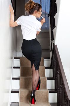 Black Pencil Skirt White Blouse  Sheer Black Pantyhose and Black Stiletto High Heels