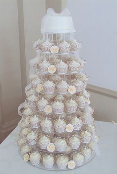 Ivory Rose Wedding Cupcake Tower-Hodsock Priory by Heavenly-Cupcakes, via Flickr
