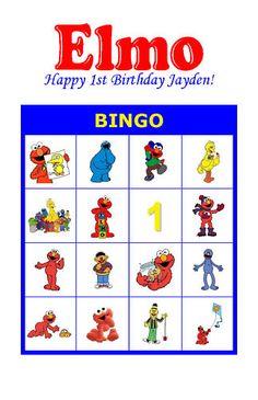 Elmo Birthday Party Game Bingo Cards   eBay