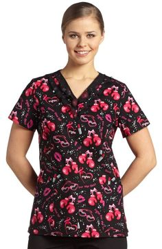 White Cross Women's Ruffled V-Neck Print Scrub Top - Print Name: Fight for the the Girls - 100% Cotton #Breast_Cancer_Awareness #Scrubs | allheart.com