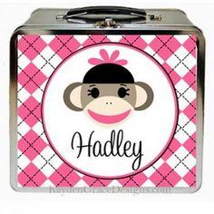 Pink Sock Monkey Lunch Box