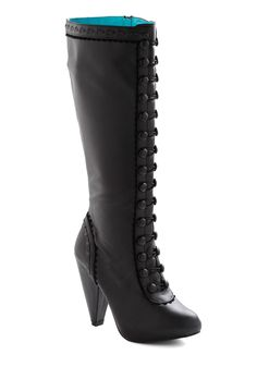 Take Carriage Boot - Black, Solid, Buttons, Scallops, French / Victorian, Steampunk, Platform, Lace Up