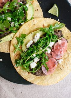 Fresh Arugula and Black Bean Tacos with Pickled Radish and Feta