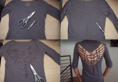 Cut Out Shirt Diy; love it, I would probably sew/glue some bright fabric inside, thought