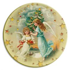 Christmas Angels Papier Mache Ball Box Ornament