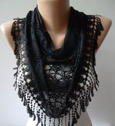 Black Scarf with Black Trim Edge   Speacial Laced by SwedishShop, $17.90