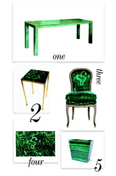 I love everything Malachite and from Good Bones and Great Pieces.