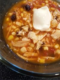 Chicken Tortilla Soup - Q99 Feed Dave Thursday  32 oz chicken broth  1 14 oz can tomato sauce  1 14 oz can diced tomatoes  1 onion  1-2 cloves garlic  2-4 t diced jalapeño peppers  1 t chili powder  ¼ t cayenne pepper  2 t cumin  4 chicken breasts  1 can black beans  2 bags corn (best type Birdseye brand sweet mix of yellow and white corn)  1 T olive oil  Click Here for the full recipe:  http://www.q99fm.com/BreakfastClub/FDT2014.aspx