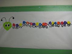 Class handprint caterpillar bulletin board.