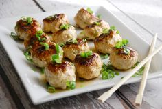 asian chicken meatballs with teriyaki glaze