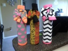 """Knee high socks and wine bottle gifts..."""" A little something to warm your mistle-TOES!"""""""