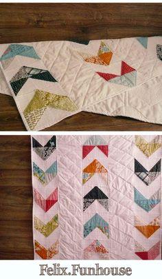 Chevron baby quilt, Modern baby blanket, Chevron arrow,  Modern baby quilt half square triangles