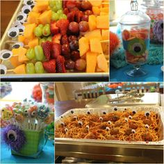 monster parti, googly eyes, birthday parties, monster birthday, fruit kabobs