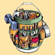 Clever! A 5 gallon bucket wrapped with a tool belt. Must-Have Tools for Every Skill Level   Great Idea for a Man's Gift!!