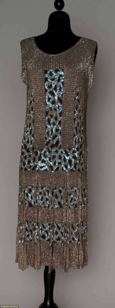 c1926 sequin and bugle bead covered dress, brown and pink, augusta-auction.com