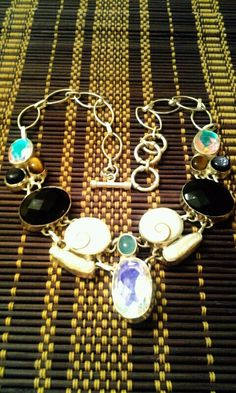 Multi Gemstone Necklace featuring Mystic Topaz by JewelsandClothes, $59.50