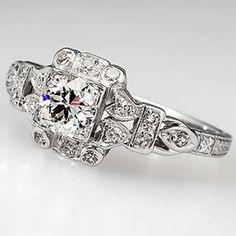 Antique 1920's Engagement Ring Old Euro Diamond Platinum