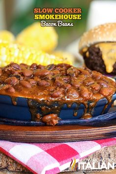 Slow Cooker Smokehouse Bacon Beans #recipe #beans #slowcooker