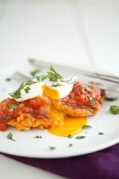 Sweet Potato Cakes with Tomato Sauce and Poached Egg