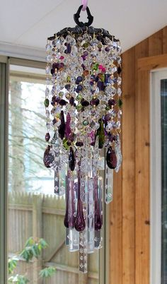 Gypsy Twilight Antique Crystal Wind Chime crystals, windchim diy, twilight, wind chimes, gypsi thought, gypsi boho, crystal windchim, antiques